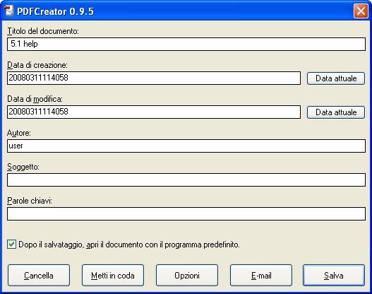 creare file pdf con PDF Creator