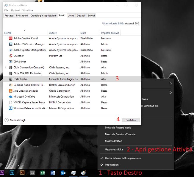 velocizzare windows 10 al massimo gestione attività