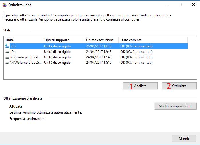 velocizzare windows 10 al massimo ottimizzazione unità