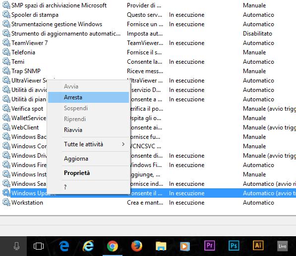 come disattivare gli aggiornamenti su windows 10 arresta servizio