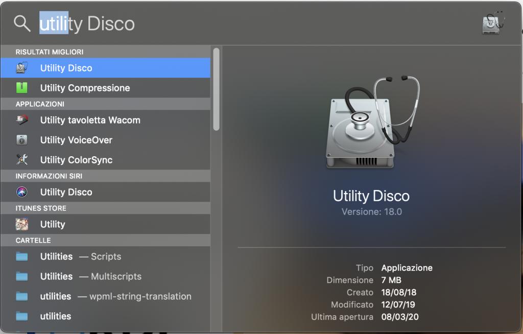 cercare utility disco su mac