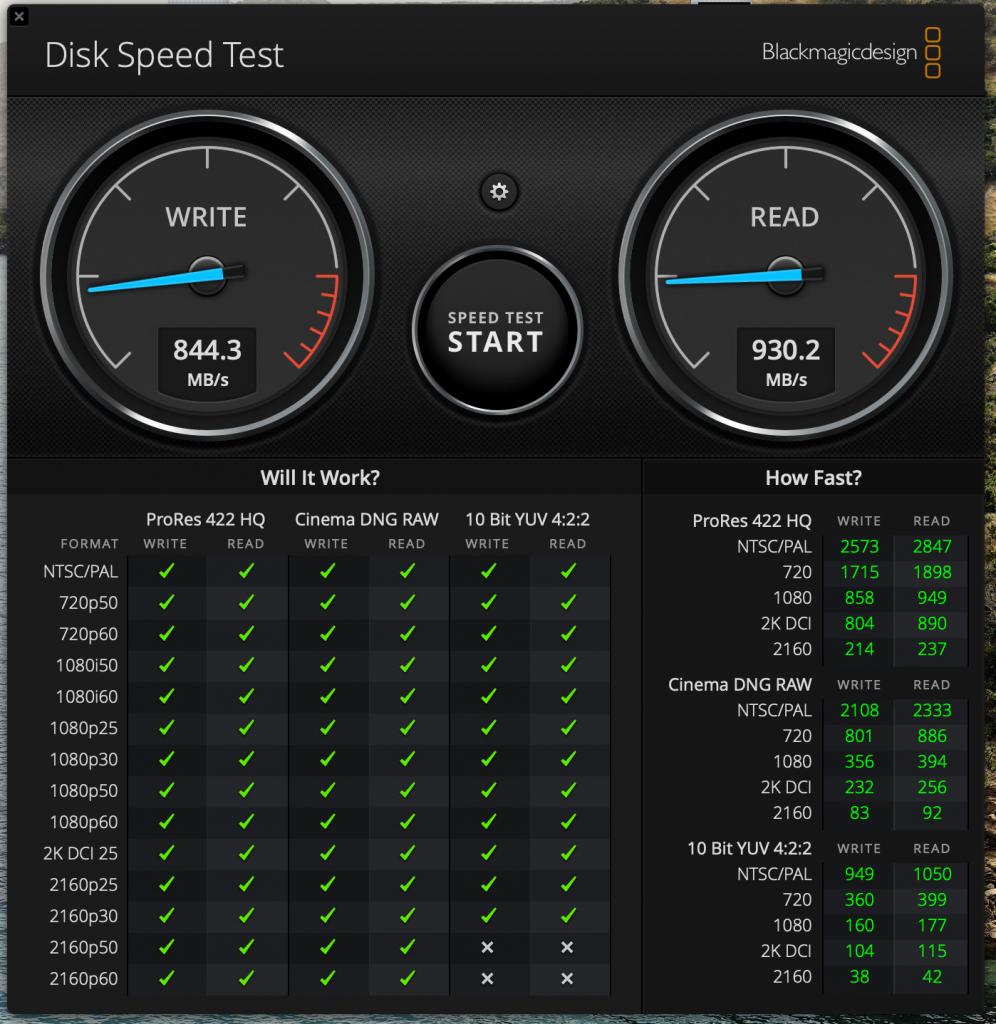 Transcennd ESD350C blackmagic mac test